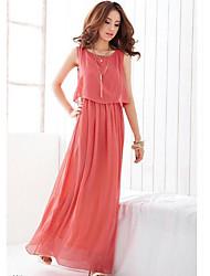 cheap -Women's Cute Swing Dress,Solid V Neck Maxi Sleeveless Polyester Summer High Rise Micro-elastic Medium