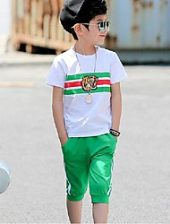 cheap -Boys' Color Block Stripe Sports Clothing Set Summer Short Sleeve Cartoon Green Black