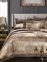 Duvet Cover Sets Floral 4 Piece Embroidery 4pcs (1 Duvet Cover, 1 Flat Sheet, 2 Shams)