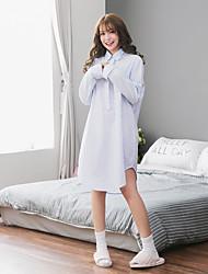 Women's Night Dress Stand Collar Long Sleeve Comfort Striped Plaid Pajamas