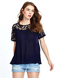 Women's Lace up|Lace Casual/Daily Street chic Summer BlouseSolid Round Neck Short Sleeve Blue / White Rayon / Polyester Thin