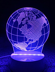 cheap -3D Acrylic LED Lamp Discoloration Globe Night Lights for Kids Room Decorative Lamps Remote Control USB Lights Funny World Map Lamps for Family
