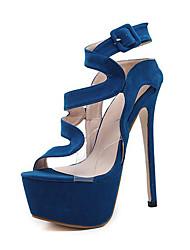 Da donna Sandali Finta pelle Estate Autunno Fibbia A stiletto Nero Blu 12 cm e oltre