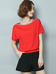 cheap -Women's Going out Work Casual Sophisticated All Seasons Blouse,Solid Round Neck Short Sleeves Rayon Polyester