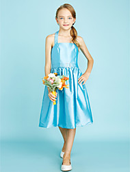 cheap -A-Line Halter Knee Length Taffeta Junior Bridesmaid Dress with Sash / Ribbon Crystal Brooch by LAN TING BRIDE®