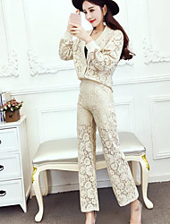 cheap -Women's Shirt Lace Pant V Neck / Spring / Summer