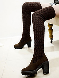 cheap -Women's Shoes Fleece Winter Boots Chunky Heel Thigh-high Boots for Black / Brown