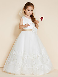 cheap -A-Line Floor Length Flower Girl Dress - Lace Satin Sleeveless Jewel Neck with Appliques Sashes / Ribbons Flower by LAN TING BRIDE®