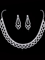 cheap -Women's AAA Cubic Zirconia Cubic Zirconia Silver Jewelry Set - Vintage Love Elegant Fashion Geometric Drop Earrings Choker Necklace