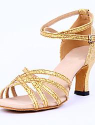 """Women's Latin Sparkling Glitter Sandals Heels Indoor Buckle Low Heel Sliver Gold 2"""" - 2 3/4"""" Customizable"""