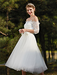 cheap -A-Line Off-the-shoulder Tea Length Lace Wedding Dress with Flower by LAN TING BRIDE®