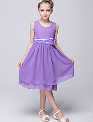 Princess Knee Length Flower Girl Dress - Chiffon Sleeveless Jewel Neck with Satin Bow by Bflower