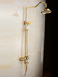 Antique Tub And Shower Rain Shower Widespread Handshower Included with  Ceramic Valve Two Handles Two Holes for  Ti-PVD  Golden Shower Faucet