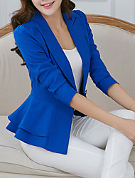 Women's Work Simple Street chic Spring Fall Jacket,Solid Notch Lapel Long Sleeve Short Polyester Others Ruffle