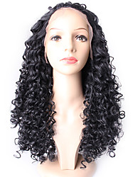 Deep Wave Natural Black Color Hair Wig High Quality Synthetic Lace Front Wigs F-DW-NC
