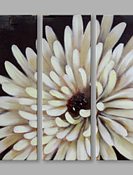 Dipinta a mano Floreale/Botanical Fiore Astratto Tre Pannelli Tela Hang-Dipinto ad olio For Decorazioni per la casa