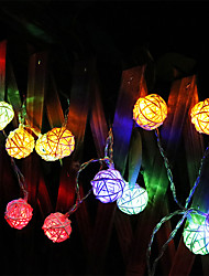 cheap -LED String Lights 2M 20led LED Battery Garland Rattan Ball  Battery Garland Rattan Ball DropPartyParty Patio Christmas Wedding Decoration Fairy Lights