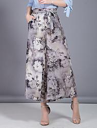 Women's High Rise Micro-elastic Chinos Pants,Cute Simple Wide Leg Floral Chiffon Bow Layered Print