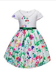 Девичий Платье Хлопок Мода Цветочный принт Цветок Лето С короткими рукавами