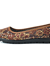 Недорогие -Для женщин Мокасины и Свитер Удобная обувь Тюль Весна Лето Повседневные Удобная обувь Пайетки Цветы На плоской подошве Кофейный Красный