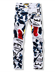 cheap -Men's Slim Straight Jeans Pants - Multi Color, Floral Print