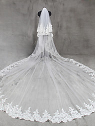 cheap -Two-tier Lace Applique Edge Wedding Veil Cathedral Veils 53 Appliques Tulle