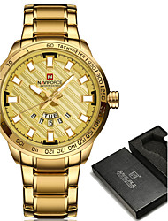 cheap -NAVIFORCE Men's Sport Watch / Military Watch / Wrist Watch Japanese Water Resistant / Water Proof / Creative / Cool Stainless Steel Band Charm / Luxury / Casual Black / Silver / Gold / Large Dial