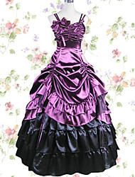 One-Piece/Dress Gothic Lolita Cosplay Lolita Dress Black Purple Solid Color Skirt Dress For Modal