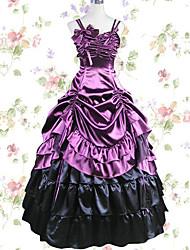 Einteilig/Kleid Gothik Cosplay Lolita Kleider Schwarz Violett Einheitliche Farbe Rock Kleid Zum Modal