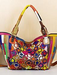 Feminino Bolsas Couro de Gado Flor para Arco-Íris