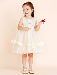 Princess Knee Length Flower Girl Dress - Cotton Chiffon Sleeveless Jewel Neck with Sequin