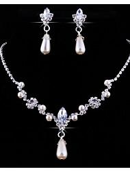 Set di gioielli Strass Perle finte Strass Lega goccia 1 collana 1 paio di orecchini Per Matrimonio Feste Compleanno 1 Set Regali di nozze