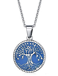 cheap -Women's Logo Pendant Necklace / Statement Necklace - Stainless Steel, Titanium Steel Friends, Tree of Life Statement, Personalized, Luxury Dark Blue, Light Blue, Light Green Necklace For Christmas