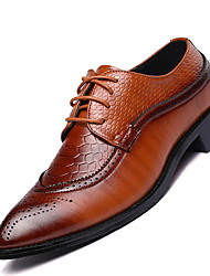 Недорогие -Для мужчин обувь Натуральная кожа Все сезоны Удобная обувь Туфли на шнуровке Назначение Повседневные Черный Коричневый Вино