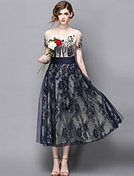 baratos -Mulheres Sofisticado Moda de Rua Evasê Bainha balanço Vestido - Renda Fashion Bordado, Bordado Médio
