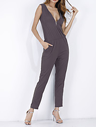 cheap -Women's Slim Jumpsuit - Solid Color Fashion, Pure Color Holiday Sexy High Rise V Neck