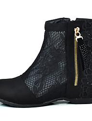 preiswerte -Damen Schuhe Tüll Stoff Frühling Sommer Komfort Stiefel Flacher Absatz Runde Zehe Booties / Stiefeletten Kristall Applikationen