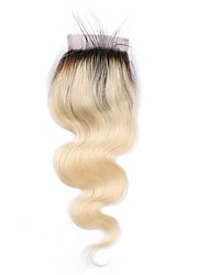 cheap -Brazilian Human Hair 4*4 Swiss Lace Top Closure with Baby Hair  Color 1b/613 Body Wave Hair
