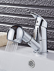 cheap -Art Deco/Retro Fashion Modern/Contemporary Pull-out/­Pull-down Vessel Widespread Rotatable Pull out Ceramic Valve Kitchen faucet