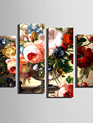 E-HOME Stretched Canvas Art The Flower Of Showily Decoration Painting Set Of 4