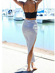 Women's Holiday Midi Skirts,Simple Bodycon Knitting Striped