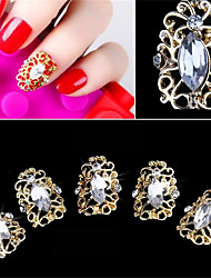 5 PC eleganter Art hohler Diamant falscher Nagelflecken 3d Nageldekoration