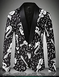 cheap -Men's Party Daily Going out Simple Casual Sexy Street chic Spring Fall Regular Blazer Notch Lapel Cotton Polyester Print