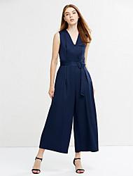 abordables -Femme Chic de Rue Combinaison-pantalon Couleur Pleine