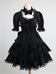 cheap -Gothic Lolita Dress Classic Lolita Dress Princess Punk Lace Women's Teen Girls' Dress Cosplay Black Short Sleeves Knee Length