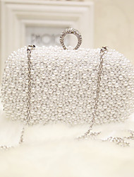 cheap -Women's Bags Silk Evening Bag Pearl Detailing for Event/Party Club Party & Evening All Seasons White Apricot