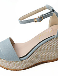 cheap -Women's Shoes PU Summer Sandals Wedge Heel Open Toe Hook & Loop for Daily Casual Dark Blue Light Blue Dark Brown