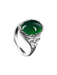 Damen Ring Synthetischer Smaragd Einzigartiges Design Modisch Vintage Smaragdfarben Aleación Ovale Form Schmuck Schmuck Für Hochzeit
