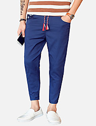 Da uomo A vita medio-alta Vintage Semplice Attivo Media elasticità magro Chino Pantaloni,Taglia piccola Tinta unita Monocolore