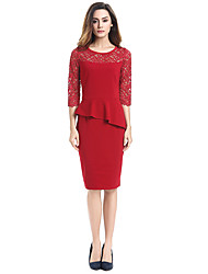 cheap -Women's Cotton Bodycon / Sheath / Lace Dress - Solid Colored / Embroidered / Floral Print Lace / Peplum High Rise